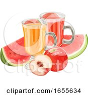 Vector Of Apple And Watermelon Fruit With Juice