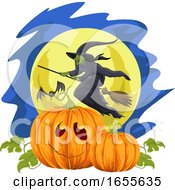 Vector Of Halloween Pumpkin And Flying Witch Against Moonlight by Morphart Creations