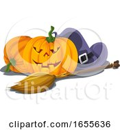 Vector Of Halloween Pumpkin With Witch Hat And Broomstick by Morphart Creations