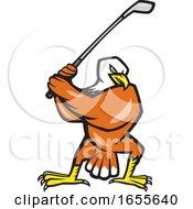 American Bald Eagle Playing Golf Cartoon