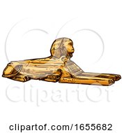 Sketched Egyptian Great Sphinx Of Giza