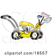 Yellow Lawn Mower Mascot Cartoon Character Passing By And Carrying Gardening Tools