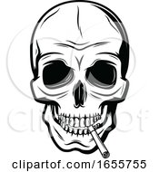 Poster, Art Print Of Black And White Skull Smoking A Cigarette