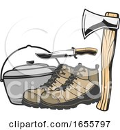 Poster, Art Print Of Pot With Hiking Boots A Knife And Axe