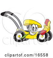 Clipart Picture Of A Yellow Lawn Mower Mascot Cartoon Character Passing By With A Red Telephone