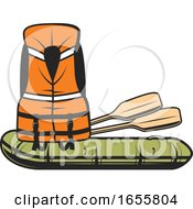 Life Jacket With Paddles And A Raft