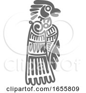 Gray Mayan Aztec Hieroglyph Art Of An Eagle