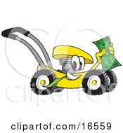 Yellow Lawn Mower Mascot Cartoon Character Passing By And Waving Cash In The Air