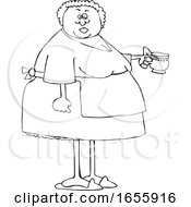 Poster, Art Print Of Cartoon Lineart Woman Wearing An Apron And Holding A Tea Cup