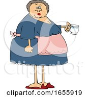 Cartoon Woman Wearing An Apron And Holding A Tea Cup