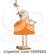 Cartoon Woman Wearing A Swimsuit And Pointing Up