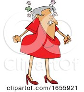 Cartoon Woman Steaming From Anger