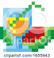 Poster, Art Print Of Watermelon Cocktail Pixel 8 Bit Video Art Icon