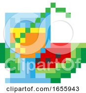 Watermelon Cocktail Pixel 8 Bit Video Art Icon by AtStockIllustration