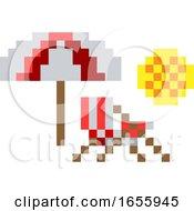 Deck Beach Chair Pixel 8 Bit Video Game Art Icon