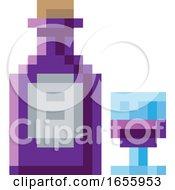 Poster, Art Print Of Wine Bottle Glass 8 Bit Video Game Art Icon