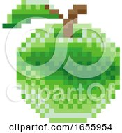 Poster, Art Print Of Apple Pixel Art 8 Bit Video Game Fruit Icon