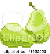 Poster, Art Print Of Pear Pixel Art 8 Bit Video Game Fruit Icon