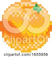 Poster, Art Print Of Orange Pixel Art 8 Bit Video Game Fruit Icon