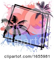 Palm Tree And Paint Splatters Frame