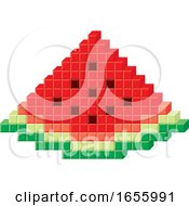 Poster, Art Print Of Sketched Green Watermelon Wedge