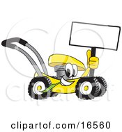 Yellow Lawn Mower Mascot Cartoon Character Passing By And Holding A Blank Sign