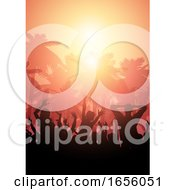 Poster, Art Print Of Party Crowd On A Summer Landscape Background