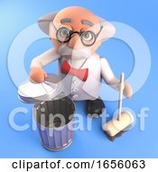 Tidy Mad Scientist Professor Cleans Up With His Broom by Steve Young