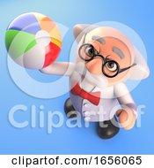 Playful Mad Scientist Professor Throws A Beach Ball