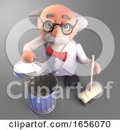 Clean And Tidy Mad Scientist With Broom And Trash Can 3d Illustration by Steve Young