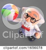 Mad Professor Scientist Forgets Everything And Plays With A Beach Ball 3d Illustration