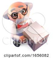 Funny Mad Scientist Professor Takes Delivery Of A Cardboard Box