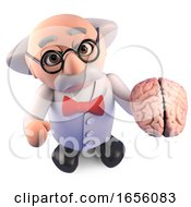 Genius Mad Scientist Professor Studies A Human Brain