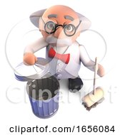 Tidy Mad Scientist Cleans Up With His Broom And Recycles Trash by Steve Young