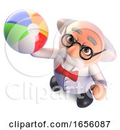 Busy Mad Scientist Professor Relaxes With A Beach Ball