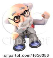 Cartoon Mad Scientist Professor Using A Pair Of Binoculars