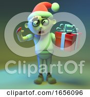 Festive Zombie Monster Wears A Santa Hat And Has A Gift Wrapped Present