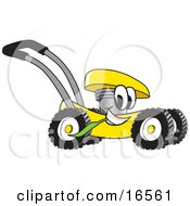 Yellow Lawn Mower Mascot Cartoon Character Passing By And Chewing On Grass