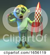 Juvenile Zombie Monster Plays With His Rocket Spaceship Toy