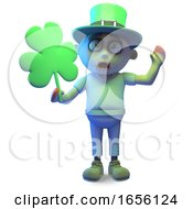 Irish Zombie Monster Holding Shamrock On St Patricks Day by Steve Young
