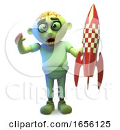 Funny Undead Zombie Monster Holding A Toy Spaceship Rocket by Steve Young