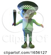 Strange Undead Zombie Monster Dresses As A Policeman by Steve Young