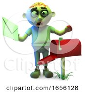 Poster, Art Print Of Keen Zombie Monster Checks His Mailbox For Post