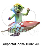 Scared Zombie Monster Riding A Space Rocket by Steve Young