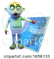 Poster, Art Print Of Green Zombie Monster Is Impressed With Solar Energy