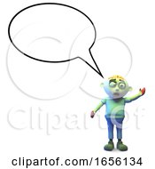 Spooky Zombie Monster With Blank Speech Bubble by Steve Young