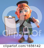 Scottish Man In Kilt Holding A Clipboard And Pencil