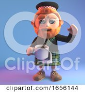 Poster, Art Print Of Thirsty Scottish Man In Kilt Drinks A Cup Of Tea