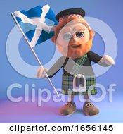Proud Scottish Man In Kilt Waves The Scottish Flag