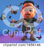 Red Haired Scottish Man In Kilt Surrounded By Butterflies